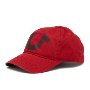 TRUE RELIGION Red Horseshoe Logo Adjustable Hat